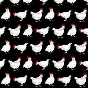 Watercolor Chickens-Black
