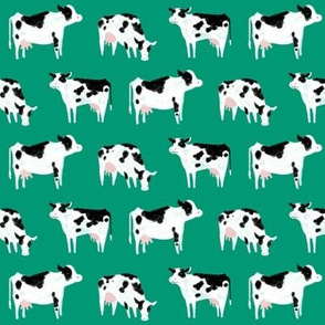 Watercolor Cows-Green