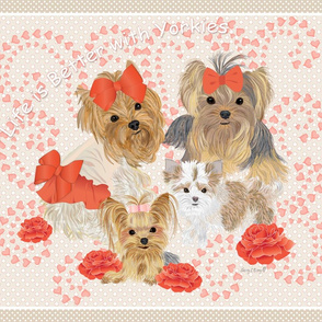 Yorkie Pip Pillow Quilt Panel