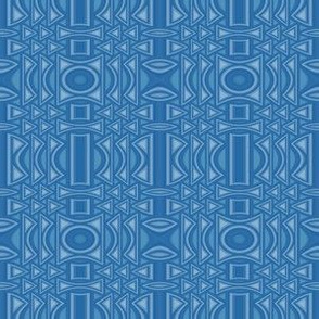 Mid Tone Blue Geometric with Vertical Line