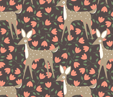 Brown Deer Pattern fabric by gingiber on Spoonflower - custom fabric