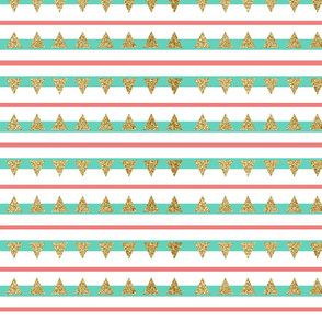Mint Coral Gold Glitter Triangle Stripes