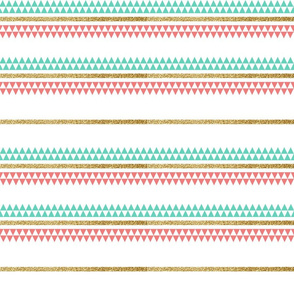 Mint Coral Gold Glitter Tiny Triangle Stripes