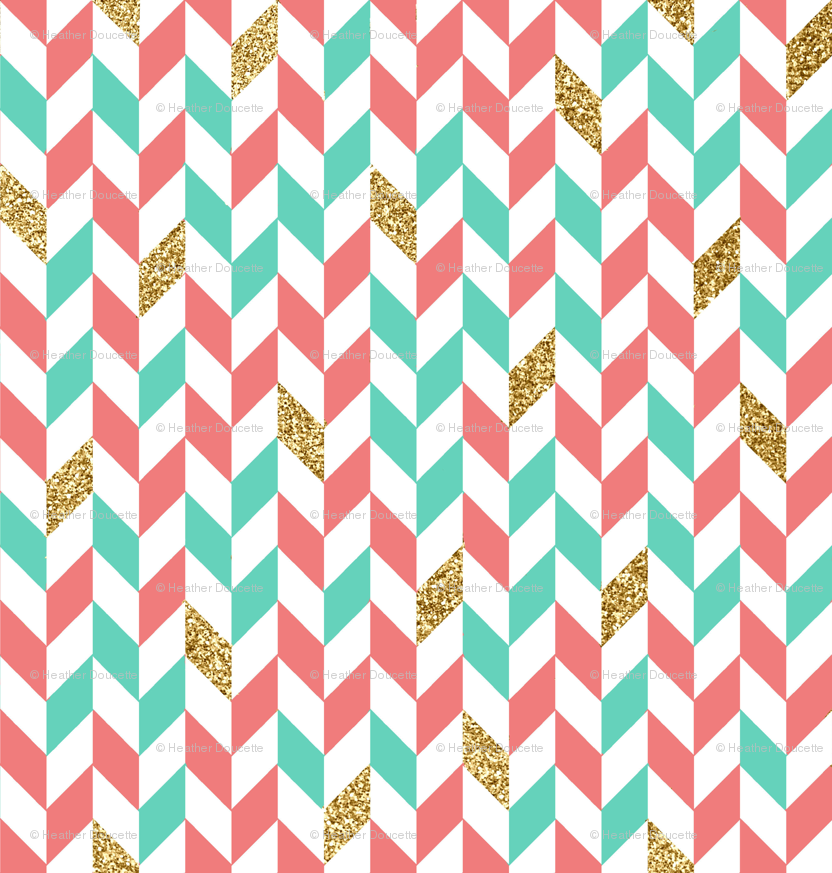 Mint Coral Gold Glitter Chevron Scatter Wallpaper