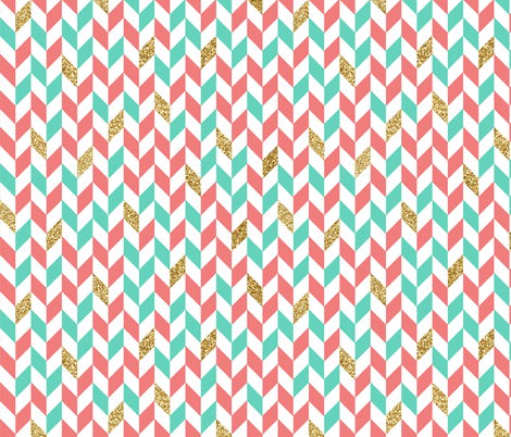 Mint And Coral Chevron Background Mint Coral Gold Glitte...