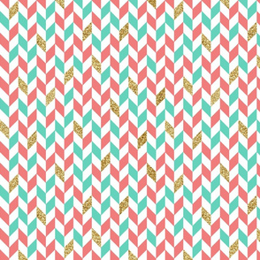 Mint Coral Gold Glitter Chevron Scatter