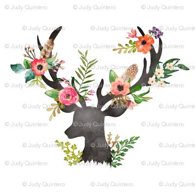 Floral Deer Fabric Shopcabin Spoonflower