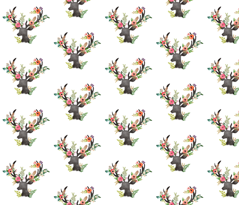 Floral Deer  fabric by shopcabin on Spoonflower - custom fabric