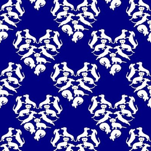 Custom Doxie Love, Navy and White 2