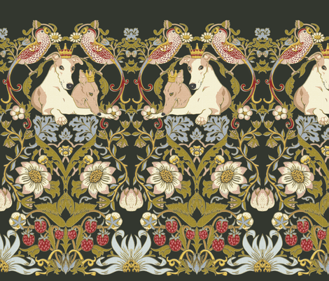 Whippet Border fabric by iizzard on Spoonflower - custom fabric