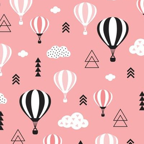 Scandinavian pastels and black and white hot air balloons and geometric clouds sky illustration pattern pink
