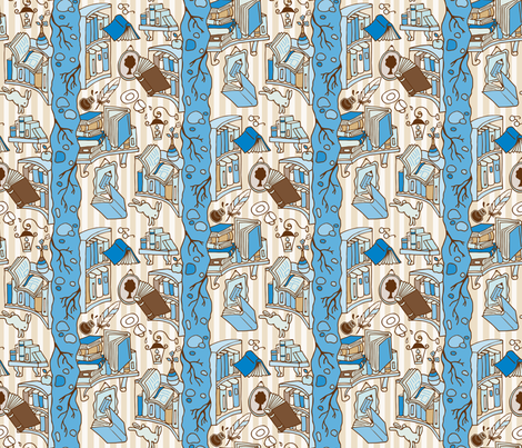 Books: Through the rabbit hole  - Blue / Brown fabric by mia_valdez on Spoonflower - custom fabric