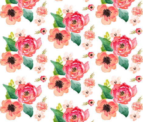 """14"""" Floral Dreams White  fabric by shopcabin on Spoonflower - custom fabric"""