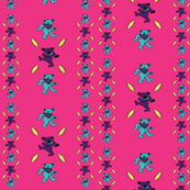 Pink Dark Background with Aqua Pink Dancing Bears Lightning