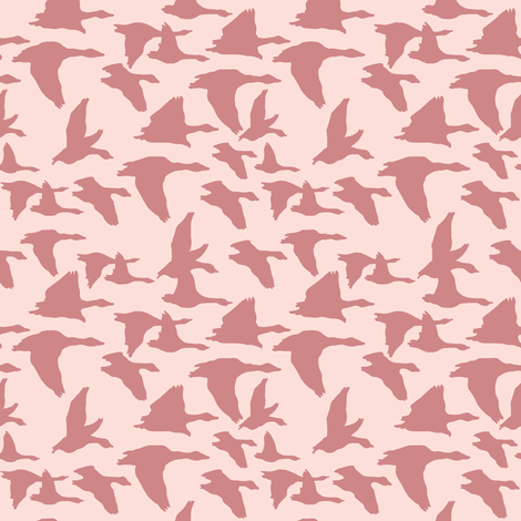 Flying birds in pinks fabric by lburleighdesigns on Spoonflower - custom fabric