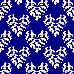 Custom Doxie Love, Navy and Cream