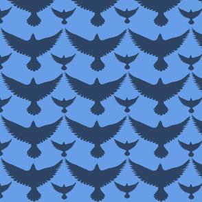 dark birds on blue