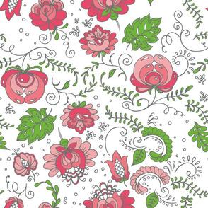 Pastel color 50-s style floral pattern
