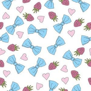 Pattern with blue bows, raspberries and hearts