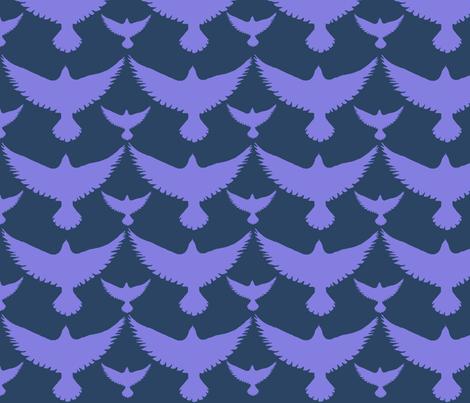 purple birds on dark fabric by kimberlehi on Spoonflower - custom fabric