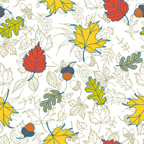 Autumn oak and maple tree leaves and acorns fabric by poulin on Spoonflower - custom fabric