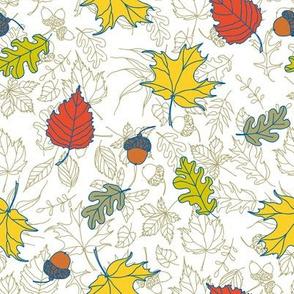 Autumn oak and maple tree leaves and acorns