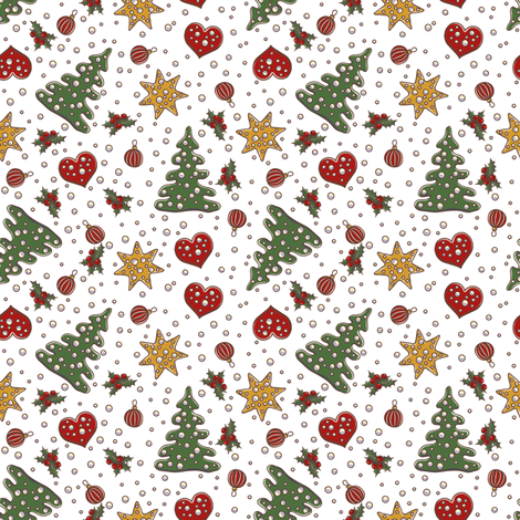 New year and Christmas decorations, fur tree and stars fabric by poulin on Spoonflower - custom fabric