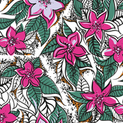 Tropical flowers 50-s style inspired pattern