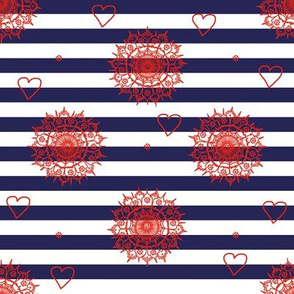 Fashion navy and white stripes with red flower ornate details
