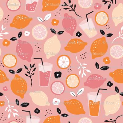 Hot summer oranges and lemon fruit colorful lemonade illustration kitchen food print in pink