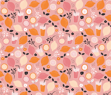 Hot summer oranges and lemon fruit colorful lemonade illustration kitchen food print in pink fabric by littlesmilemakers on Spoonflower - custom fabric