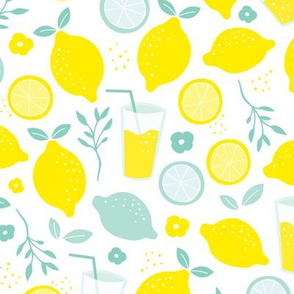 Hot summer lime and lemon fruit colorful lemonade illustration kitchen food print in yellow and mint