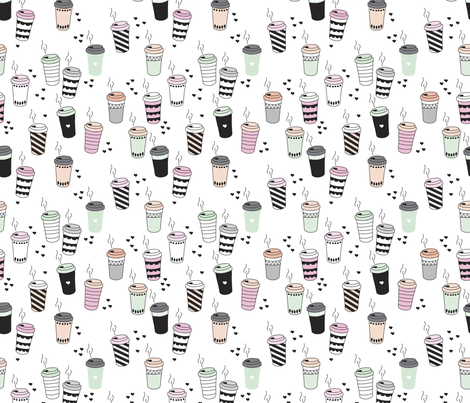 Coffee love never too hot for coffee take away cups illustration for addicts in black white mint and pink fabric by littlesmilemakers on Spoonflower - custom fabric