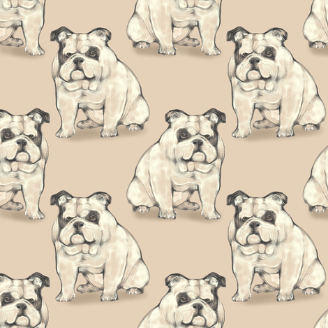 Sitting Bulldog, Tan fabric by eclectic_house on Spoonflower - custom fabric