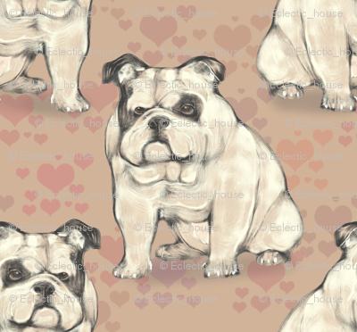 Sitting Bulldog, with tan hearts