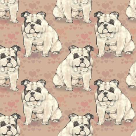 Sitting Bulldog, with tan hearts fabric by eclectic_house on Spoonflower - custom fabric