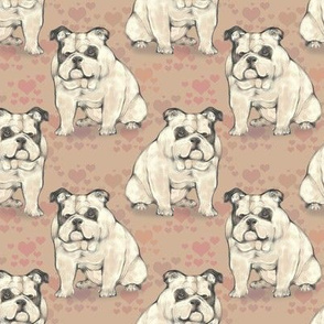Sitting Bulldog, with tan hearts