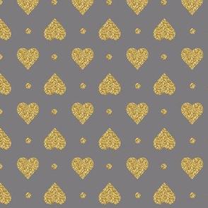 Titanium Gray Faux Glitter Gold Hearts