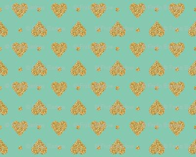 Faux Gold Glitter Hearts, Jade Mint