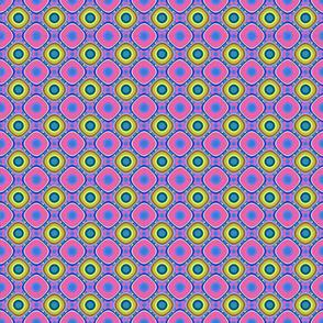 Blue, Yellow, Pink Qbist Tiled Rings