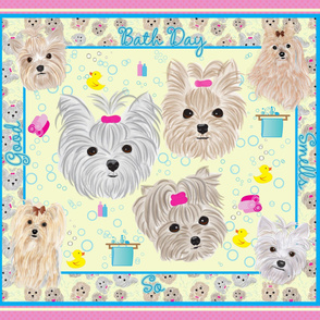 Yorkie -Bath time Quilt panel