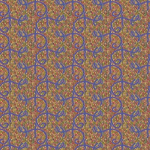 Blue Lizards on Butterscotch Mosaic