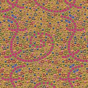 Buttoned Lizards on Butterscotch Mosaic