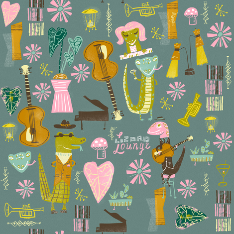 lizard lounge fabric by skbird on Spoonflower - custom fabric