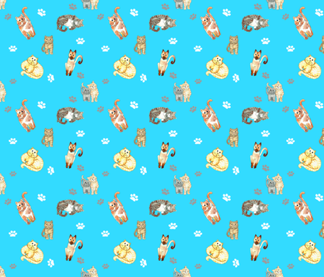 Random Cats Turquoise fabric by dreamoutloudart on Spoonflower - custom fabric