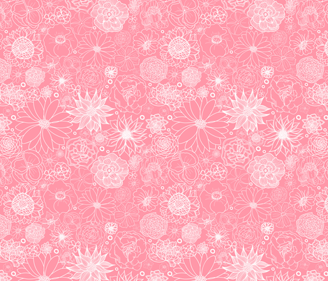 White on Pink Floral fabric by tarynillustrates on Spoonflower - custom fabric