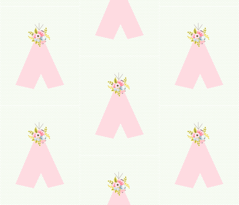 floral teepee on dots fabric by ajoyfulriot on Spoonflower - custom fabric