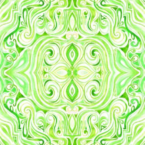 Lime Green and Cream Watercolor Swirls