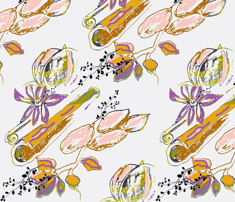 Cinnamon, Cardamon and Nutmeg. fabric by frances_hollidayalford on Spoonflower - custom fabric