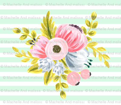 Horizontal stripe floral - light mint